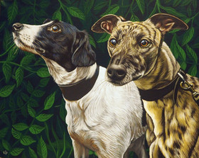 Two rescue dogs with leafy dark green background on A3 canvas