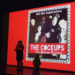 Director onstage at screening
