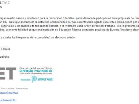 Felicitaciones de la Dirección de Educación Técnica