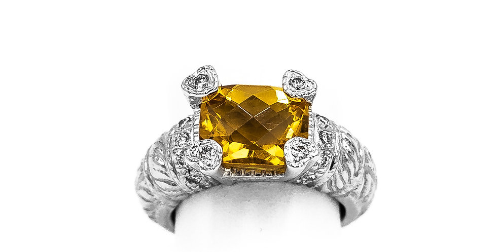 White Gold Citrine With Heart Prongs Ring