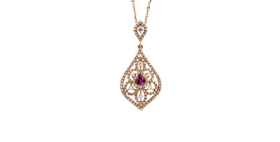 Classic Rose Gold Antique Ruby Necklace