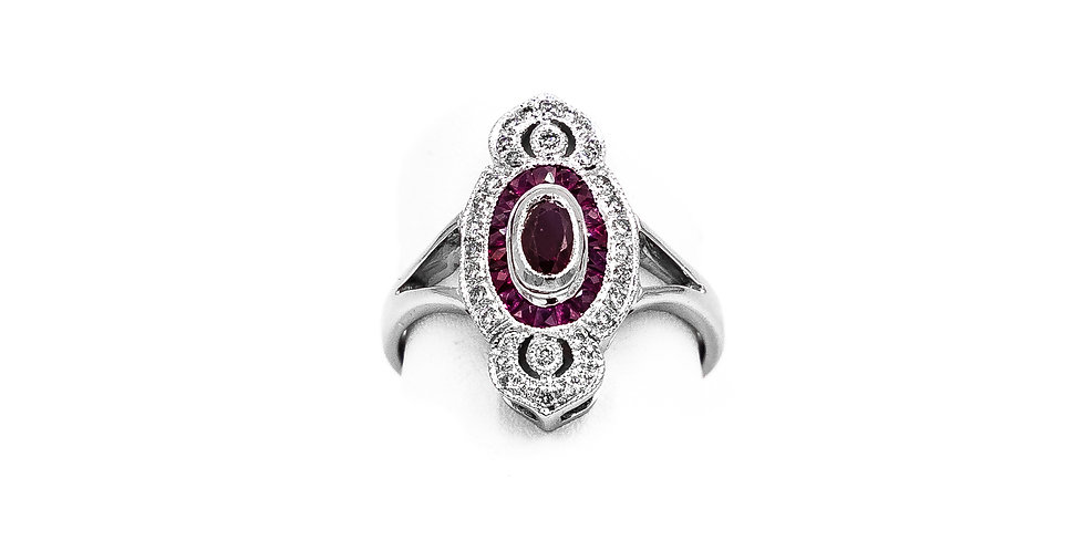 White Gold Ruby Antique Finish Vintage Style Ring