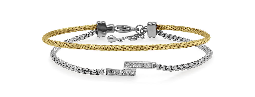 Grey Chain & Yellow Cable Intermix Bracelet Ref. 04-34-1020-11