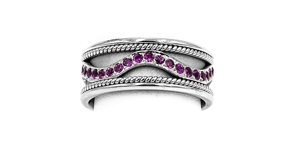 White Gold Pink Sapphire Eternity Band Set Ring