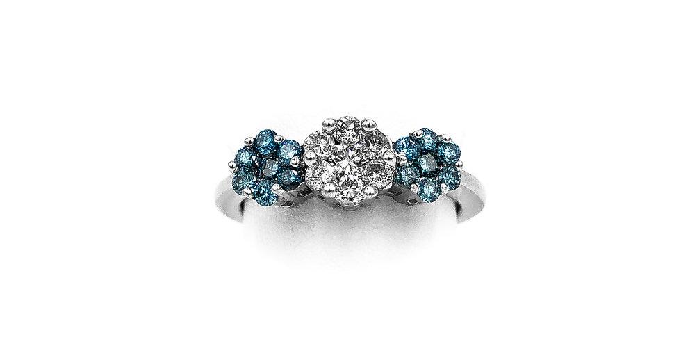 White Gold Blue Topaz 3 Cluster Diamond Center Ring