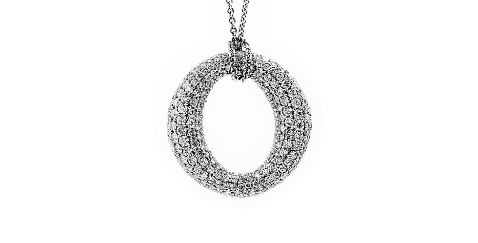 White Gold Pave Circle Of Life Necklace