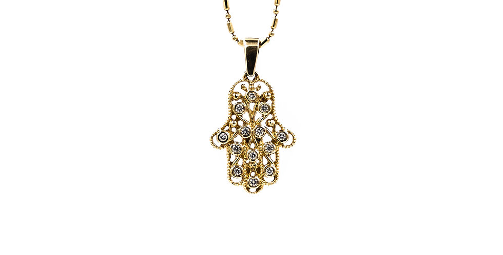 Yellow Gold Hand of Gold Hamsa Necklace