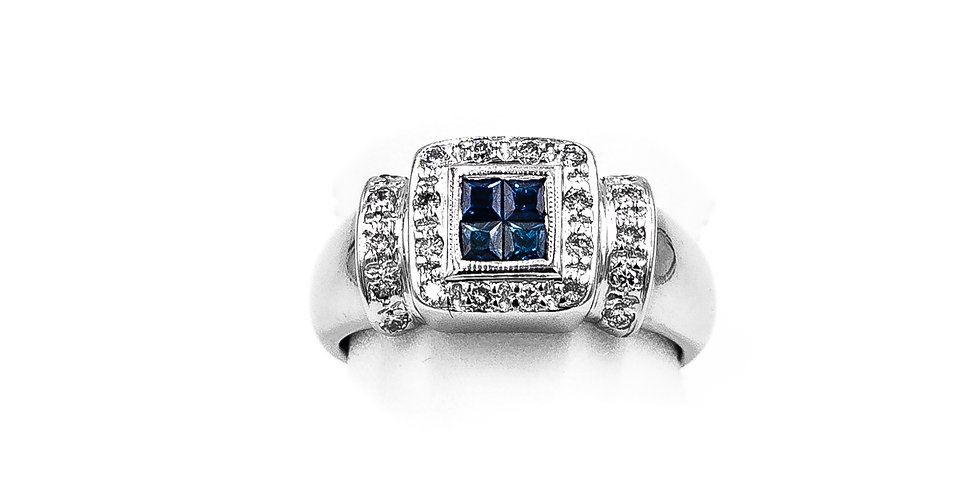 White Gold Sapphire Center Pave Halo Ring