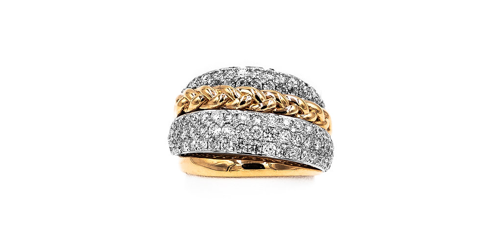 White/Yellow Gold Dome 2 Rows Of Pave Round Diamond Ring