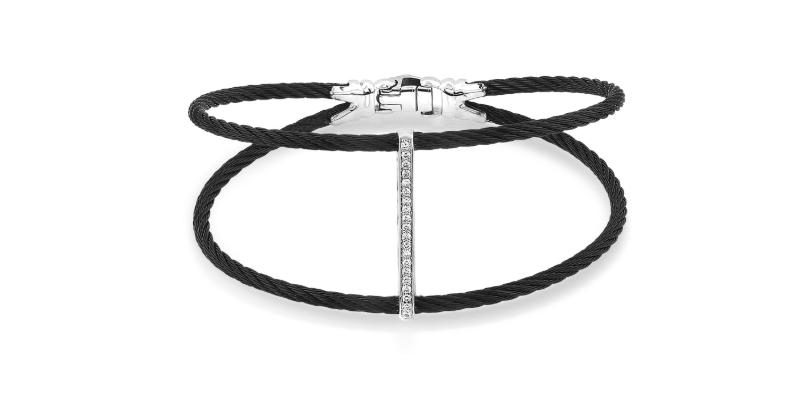 ALOR Black Steel & 18K White Gold Diamond Bar Top Bracelet Ref. 04-52-0720-11