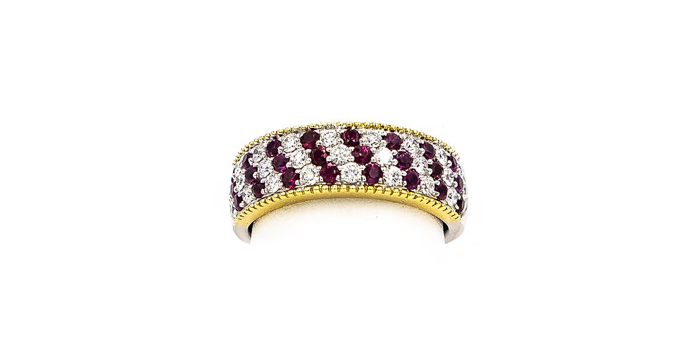 White Gold Rubies Alternating Dome Ring