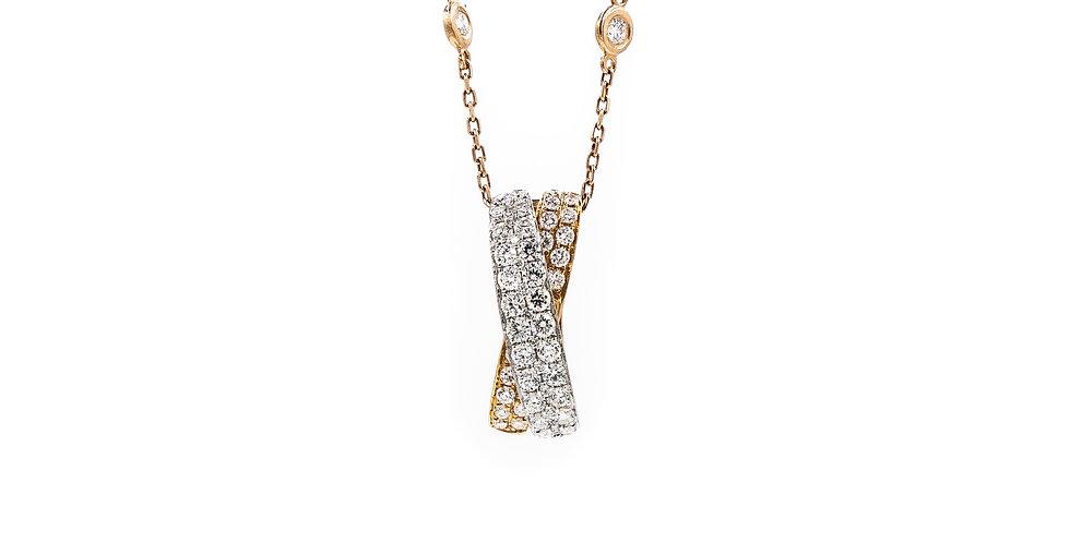 Rose Gold Double Rows Pave X Slide Pendant Diamond Necklace