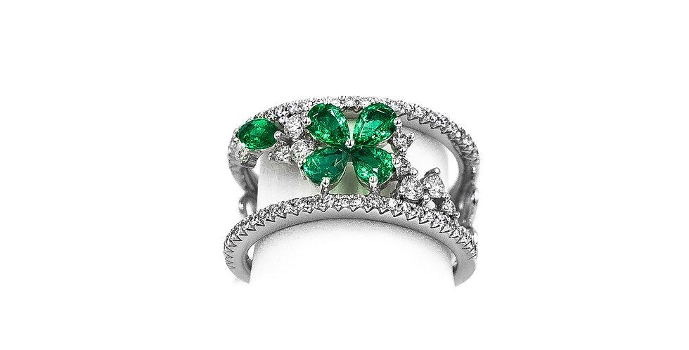 White Gold Emerald Flower Two Bar Ring