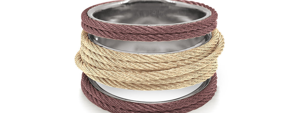 Noir Burgundy and Yellow Cable Stack Ring Ref. 02-29-S423-00