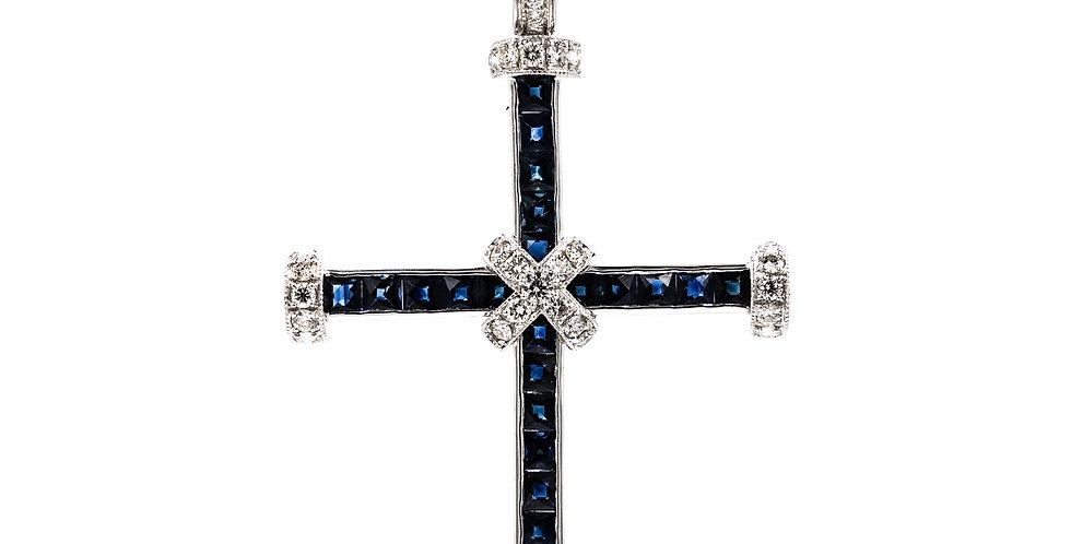 White Gold Diamond/Sapphire Modern Ladies Cross Necklace