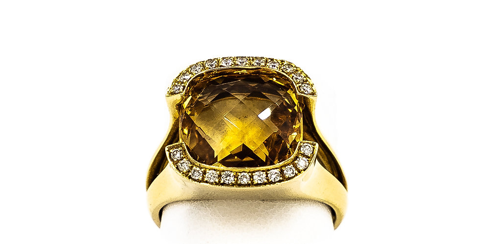 Yellow Gold Diamond Cushion Citrine Ring