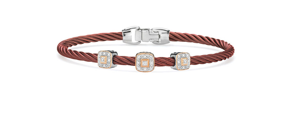 Alor Burgundy Cable Essential Stackable Bracelet Ref. 04-21-S934-11