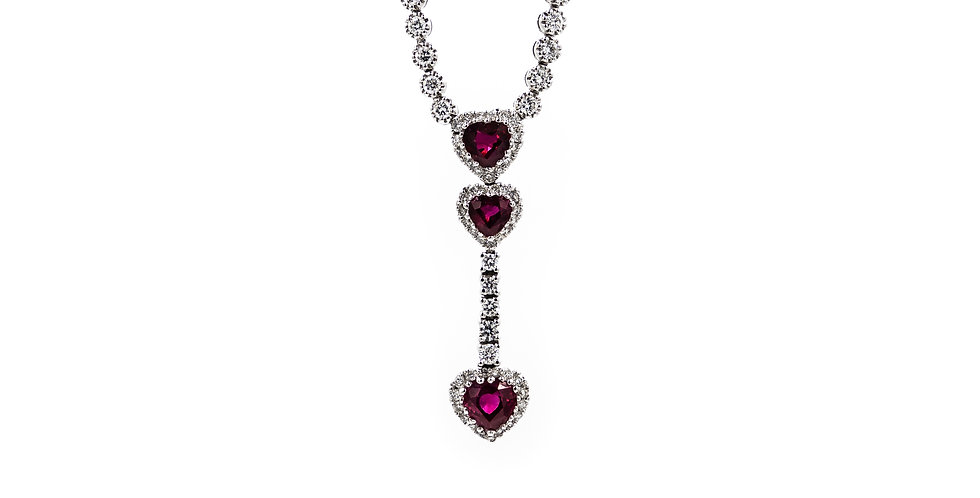 White Gold Dangle Ruby Heart Necklace