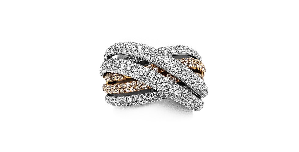 Rose Gold Two Tone 6 Rows Of Pave Diamond Ring