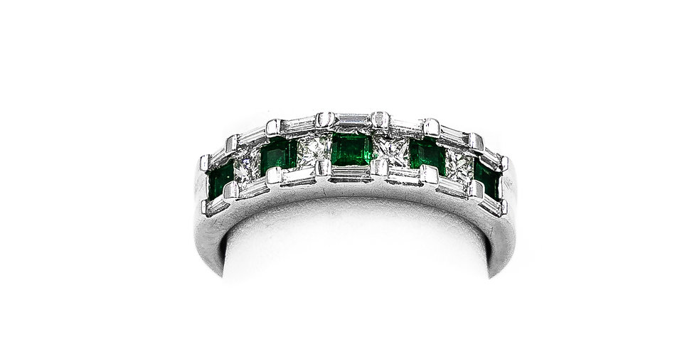 White Gold 5 Stone Emerald Princess Cut Ring