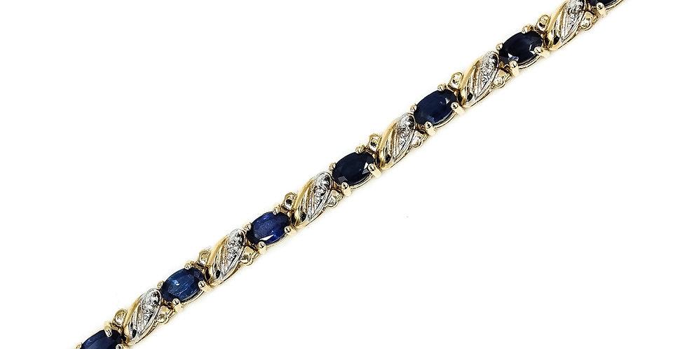 Classic Yellow Gold Sapphire/Diamond Tennis Bracelet
