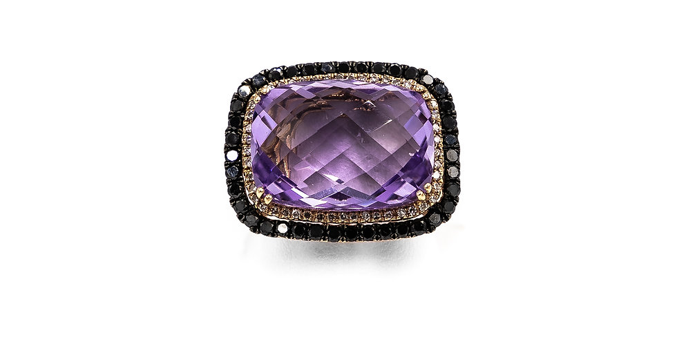 Rose Gold Amethyst Oval Facet Black Diamond Halo Ring