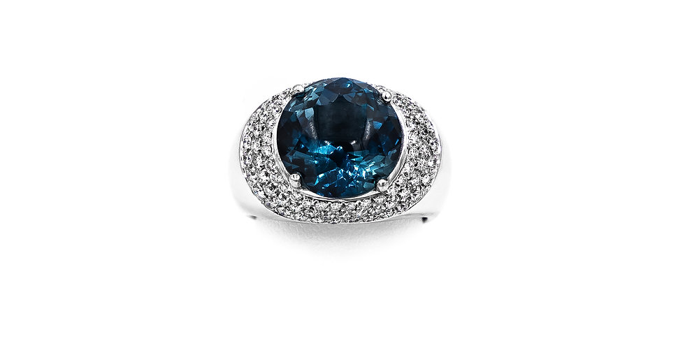 White Gold Diamond/Blue Topaz Fashion Ring