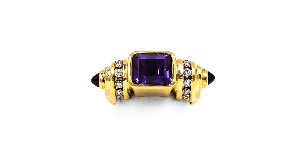 Yellow Gold Square Amethyst Barrel Channel Set East to West Ring