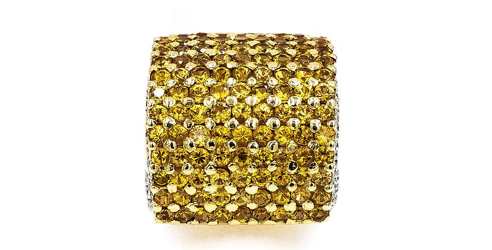 Yellow Gold Yellow Sapphire Dome Stye Pave Diamond Sides Ring
