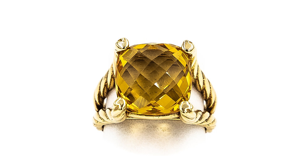 Yellow Gold Citrine Cushion Cut Rope Setting With Heart Prongs Ring