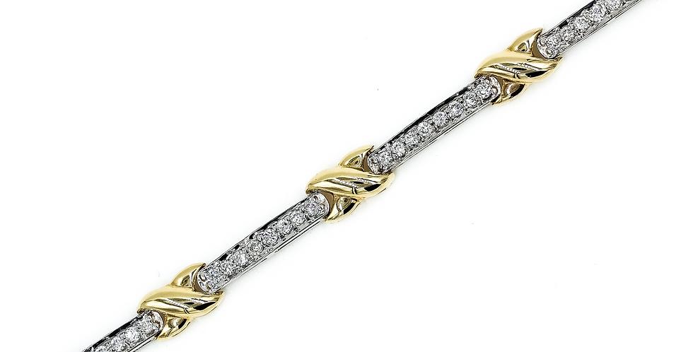 Classic Two Tone Gold Tennis Bracelet