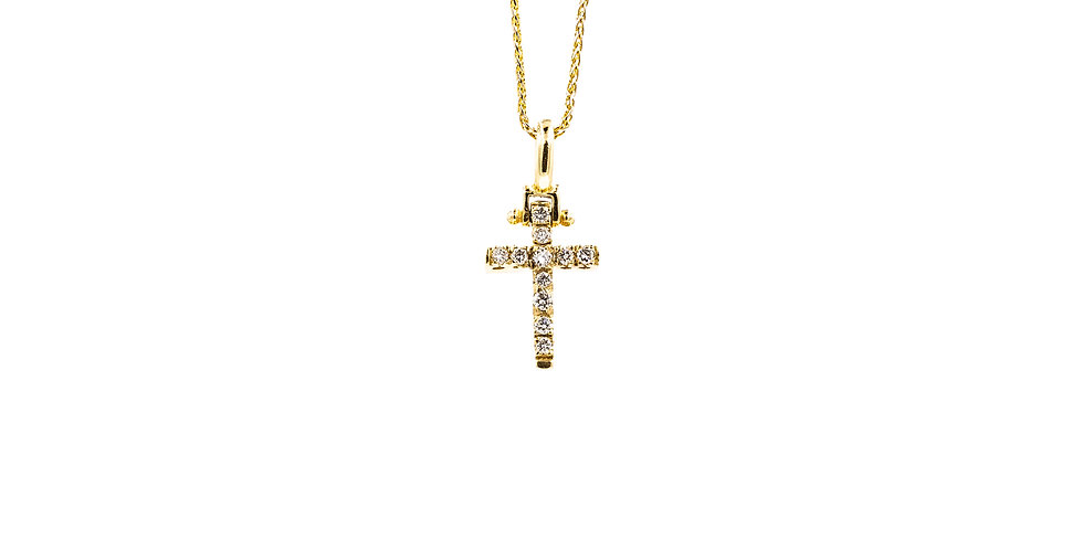 Classic Yellow Gold Diamond Cross Necklace
