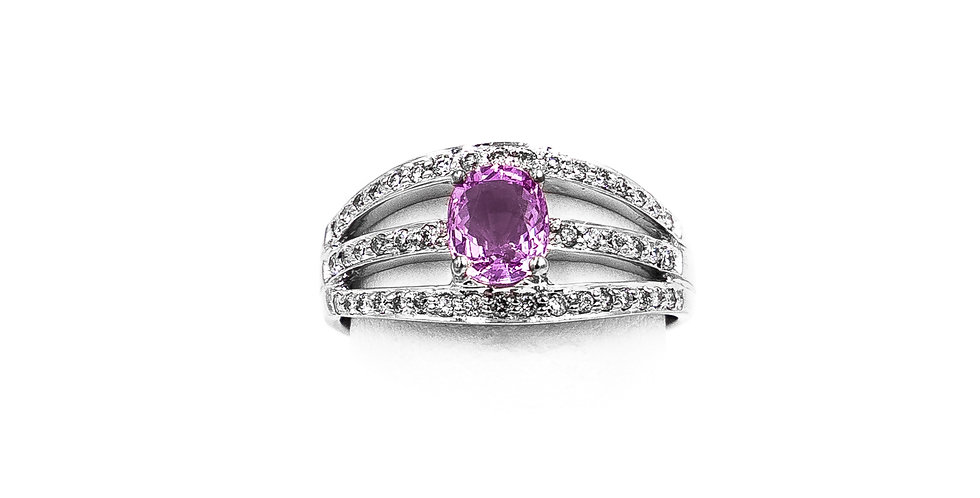 White Gold Pink Oval Sapphire With Three Rows Pave Diamonds Ring