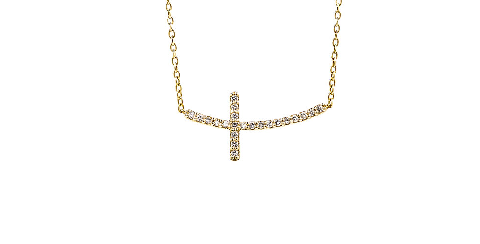 Sideways Yellow Gold Cross Necklace