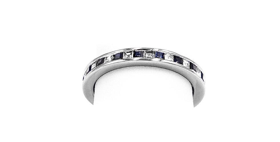 White Gold Diamond Sapphire Omega Ring