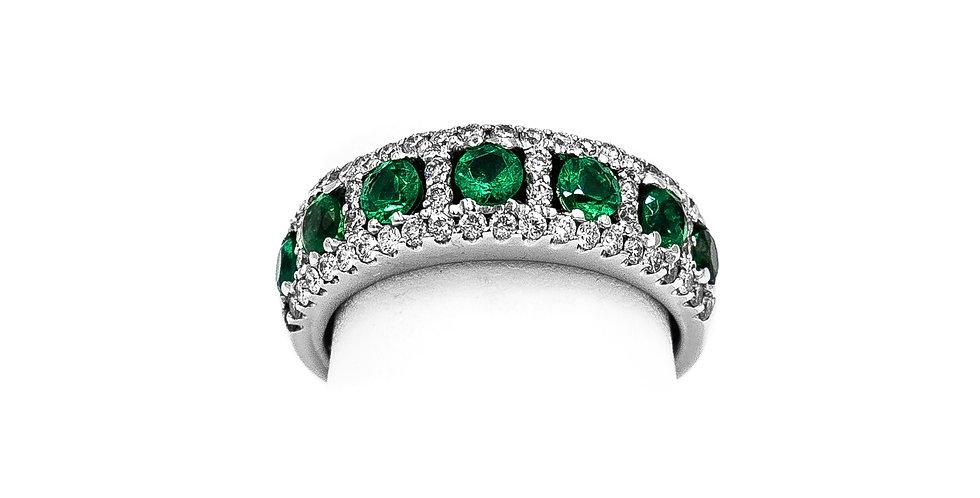 White Gold 7 Stone Emerald Ring