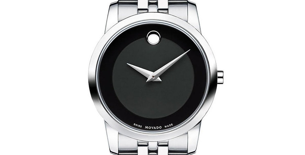 Movado Museum Black Dial Stainless Steel Ladies Watch 0606505
