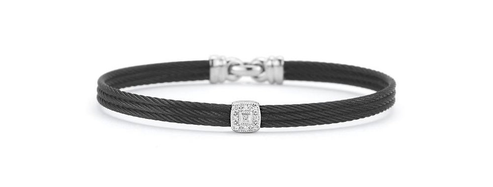 ALOR Noir Bangle Black Cable White Gold and Diamond Station