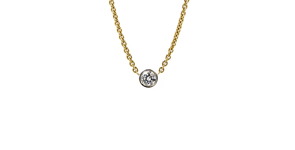 Yellow Gold Diamond White Gold Bezel Necklace