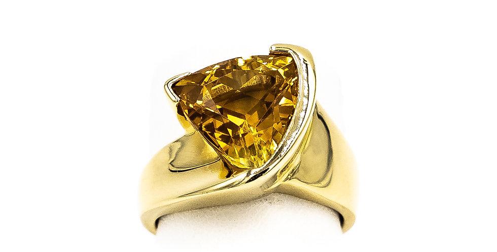 Yellow Gold Triangle Citrine Bezel Set Ring