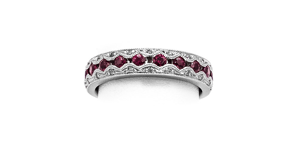 White Gold Ruby Antique Wedding Band Ring