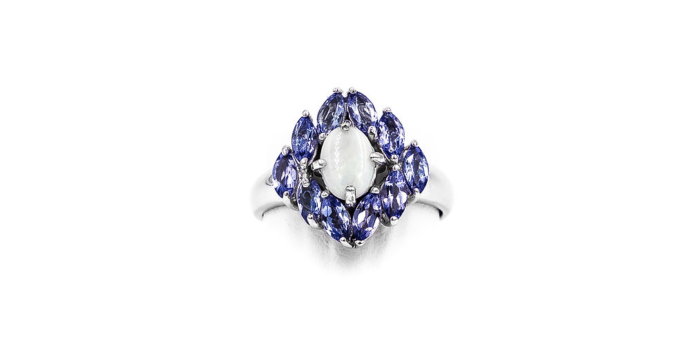 White Gold Tanzanite Opal Center Ring