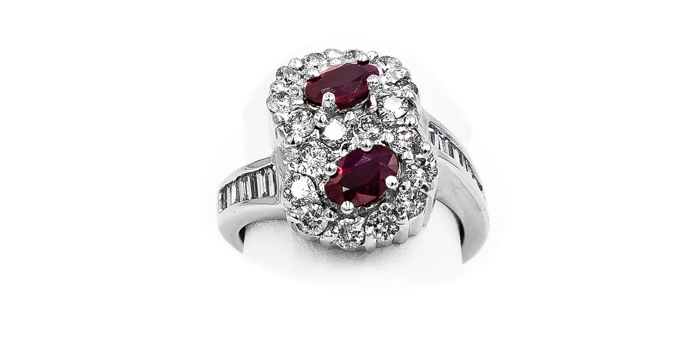 White Gold Oval Rubies Bypass Halo Ring