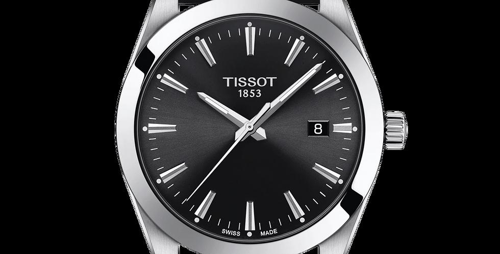 TISSOT GENTLEMEN QUARTZ BLACK DIAL LEATHER STRAP WATCH T127.410.16.051.00
