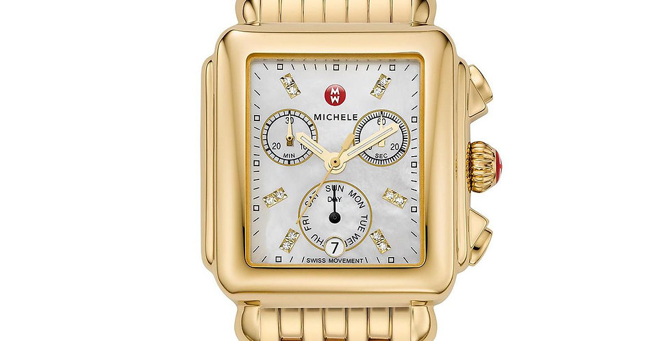 Michele Deco Diamond Dial Gold Watch MWW06P000016
