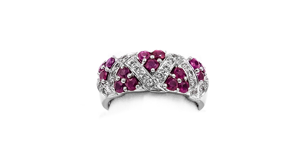 White Gold Diamonds And Ruby Band Dome Style Ring