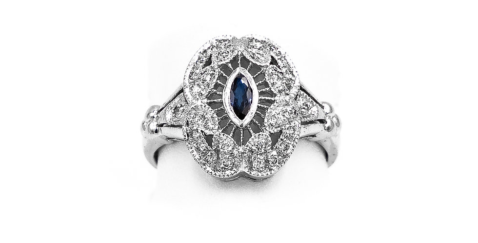 White Gold Antique With Oval Filigree Oval Shape Ring