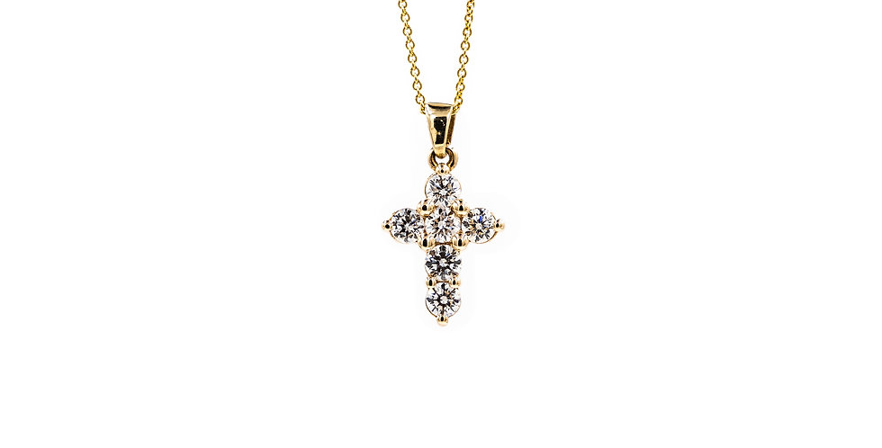 Yellow Gold 6 Full Cut Round Stones Diamond Cross Necklace
