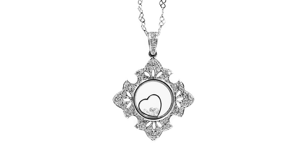 Classic White Gold Open Floating Heart Pendant