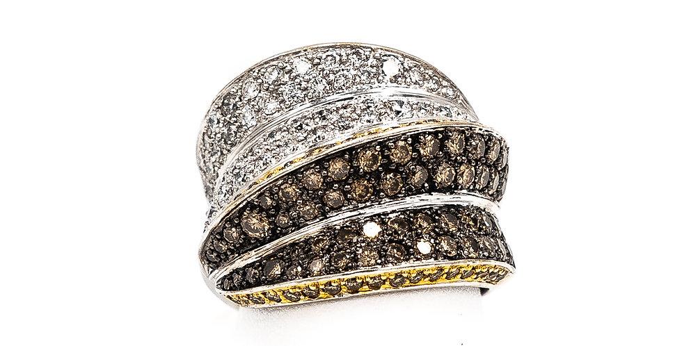 White Gold White/Champagne Diamonds Dome Pave Ring